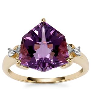 Wobito Alpine Cut Bahia Amethyst Ring with White Zircon in 10k Gold 4.41cts