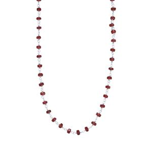Thai Ruby Bead Necklace in Sterling Silver 21.75cts (F)