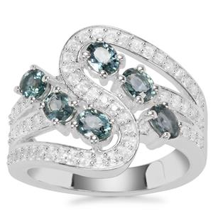 Natural Umba Sapphire Ring with White Zircon in Sterling Silver 2.27cts