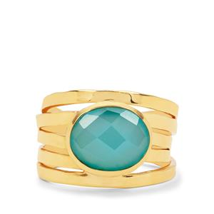 Aqua Chalcedony Ring in Gold Plated Sterling Silver 3.20cts