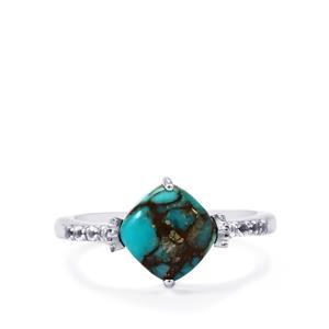 Egyptian Turquoise Ring with White Topaz in Sterling Silver 2.58cts
