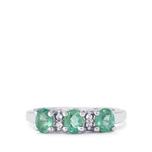 Zambian Emerald Ring with White Topaz in Sterling Silver 0.89cts