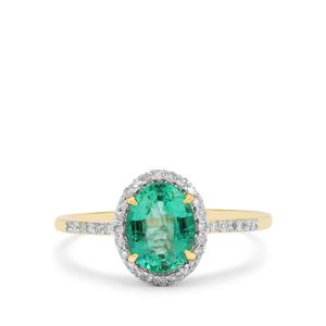 Ethiopian Emerald & Diamond 9K Gold Tomas Rae Ring ATGW 1.26cts