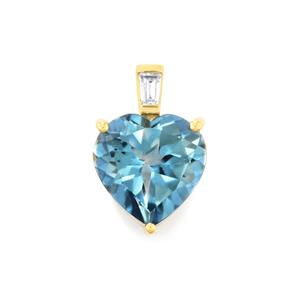 Santa Maria Topaz Pendant with Zircon in 10K Gold 4.05cts