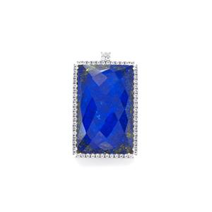 Sar-i-Sang Lapis Lazuli Pendant with White Topaz in Sterling Silver 86.75cts