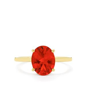 Tarocco Red Andesine Ring in 9K Gold 1.93cts
