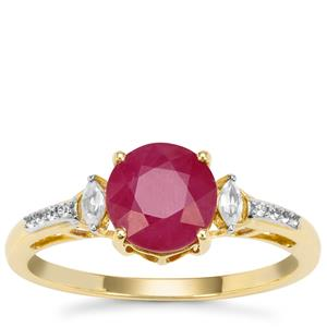 Kenyan Ruby Ring with White Zircon in 9k Gold 2.30cts