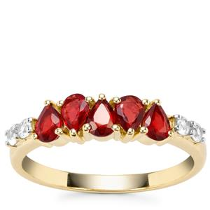 Songea Ruby Ring with White Zircon in 9K Gold 1.19cts