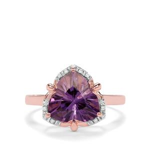 Lehrer Infinity Cut Ametista Amethyst & Diamond 9K Rose Gold Ring ATGW 3.03cts