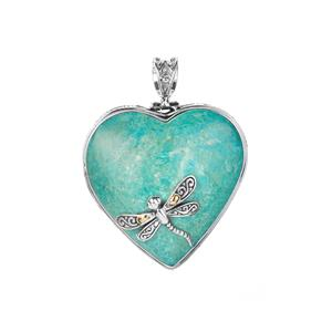 Mojave Turquoise Samuel B Heart Pendant in Sterling Silver with 18k Gold accents 59cts