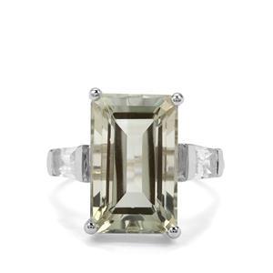 Prasiolite & White Topaz Sterling Silver Ring ATGW 9.21cts