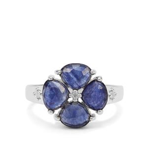 Rose Cut Blue Sapphire & White Zircon Sterling Silver Ring ATGW 3.14cts (F)