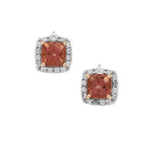 Pink Apatite & White Zircon 9K Gold Earrings ATGW 1.95cts
