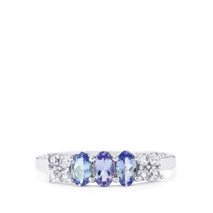 Bi-Color Tanzanite & White Zircon Sterling Silver Ring ATGW 1.17cts