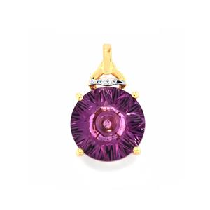 Lehrer QuasarCut Ametista Amethyst Pendant with Diamond in 10K Rose Gold 4.58cts