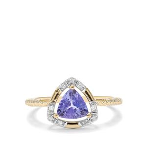AA Tanzanite & Diamond 9K Gold Ring ATGW 1cts