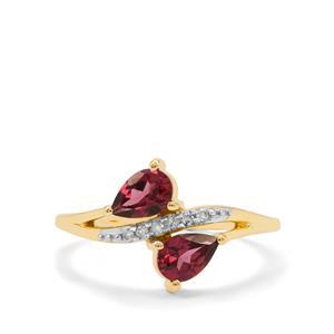 Malaya Garnet Ring with Diamond in 9K Gold 0.95ct