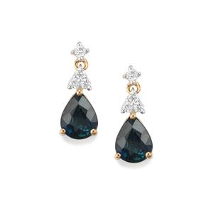Nigerian Blue Sapphire Earrings with Diamond in 18K Gold 1.49cts