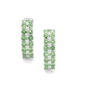Tsavorite Garnet Earrings in Sterling Silver 2.35cts