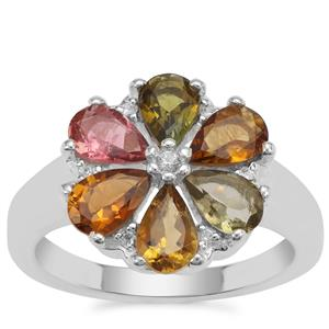 Multi-Colour Tourmaline Ring with White Zircon in Sterling Silver 2.49cts