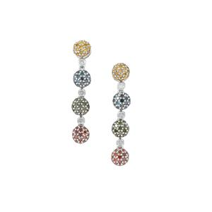 Multi-Colour Earrings in Sterling Silver 1.07cts