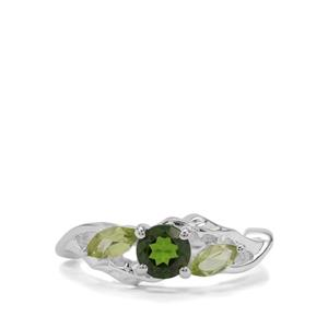Chrome Diopside & Peridot Sterling Silver Ring ATGW 1.30cts