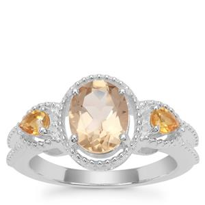Bolivian Natural Champagne Quartz Ring with Diamantina Citrine in Sterling Silver 1.91cts