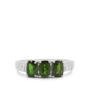 Chrome Diopside & White Zircon Sterling Silver Ring ATGW 1.69cts