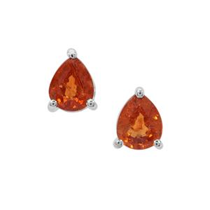 Mandarin Garnet Earrings in Sterling Silver 1.66cts