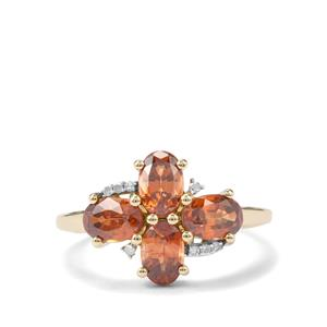 Capricorn Zircon & Diamond 9K Gold Ring ATGW 2.78cts
