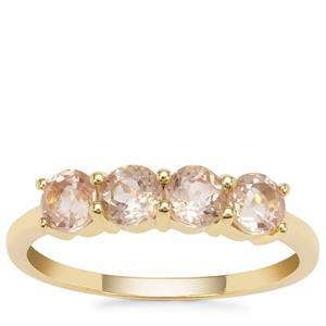 Padparadscha Oregon Sunstone Ring in 9K Gold 1cts