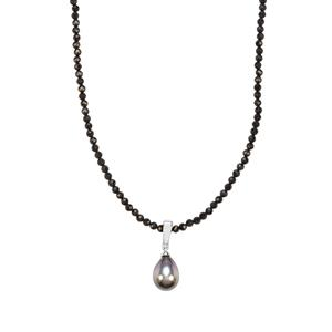 Tahitian Cultured Pearl Pendant Necklace with Black Spinel in Sterling Silver (14.50 x 10.50mm)