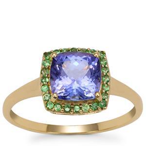 AA Tanzanite Ring with Tsavorite Garnet in 9K Gold 1.85cts