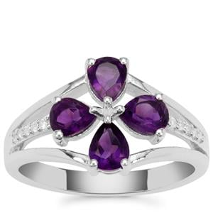 Zambian Amethyst Ring with White Zircon in Sterling Silver 1.25cts