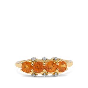 Mandarin Garnet Ring with Natural Zircon in 9K Gold 1.45cts