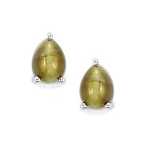 Cat's Eye Earrings in Sterling Silver 10.79cts