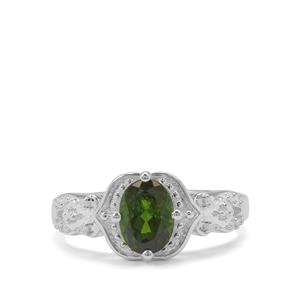 Chrome Diopside & White Zircon Sterling Silver Ring ATGW 1.31cts