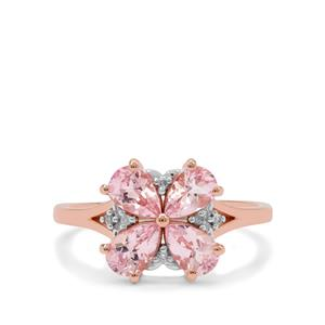 Cherry Blossom Morganite Ring with Diamond in 9K Rose Gold 1.45cts