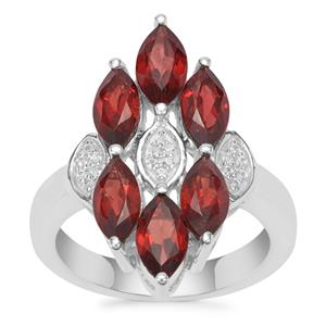 Nampula Garnet Ring with White Zircon in Sterling Silver 3.78cts
