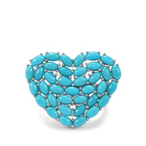 6.36ct Sleeping Beauty Turquoise Sterling Silver Heart Ring