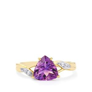 Moroccan Amethyst & White Zircon 9K Gold Ring ATGW 1.57cts