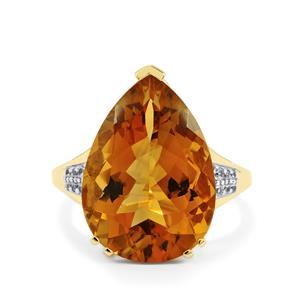 Diamantina Citrine Ring with White Zircon in 9K Gold 8.61cts