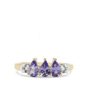 AA Tanzanite & Diamond 9K Gold Ring ATGW 0.97cts