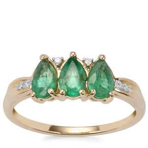 Zambian Emerald Ring with Diamond in 9K Gold 0.91ct