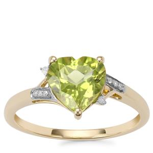 Changbai Peridot Ring with Diamond in 10K Gold 1.96cts