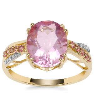 Natural Pink Fluorite, Kaffe Tourmaline Ring with Diamond in 9K Gold 4.56cts