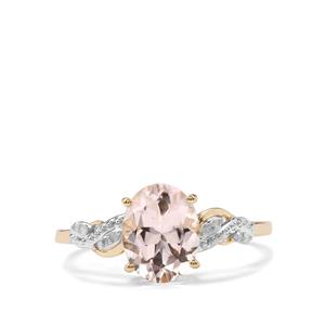Alto Ligonha Morganite Ring with Diamond in 10KGold 1.62cts