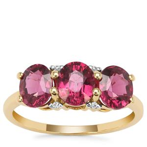 Malawi Garnet Ring with White Zircon in 9K Gold 3.41cts