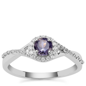 Bengal Iolite Ring with White Zircon in Sterling Silver 0.45ct
