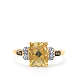 Serenite, Brown Diamond Ring with White Diamond in 10K Gold 2.15cts